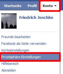 Facebook  Schritt 2: Konto - Privatsphäre-Einstellungen