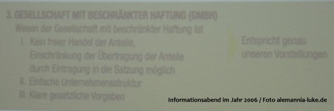 Ausgliederung der Alemannia Aachen GmbH anno 2006