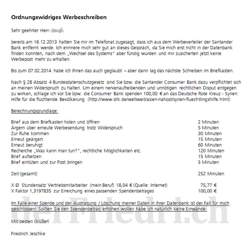Brief an die Santander Consumber Bank wegen Werbesendung