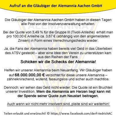 Aufruf an Gläubiger der Alemannia Aachen GmbH zur Spende ihrer Quote
