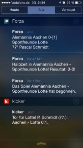 Beide Apps melden ein Tor nach ca. einer Minute. Forza Football ist einen Tick schneller.