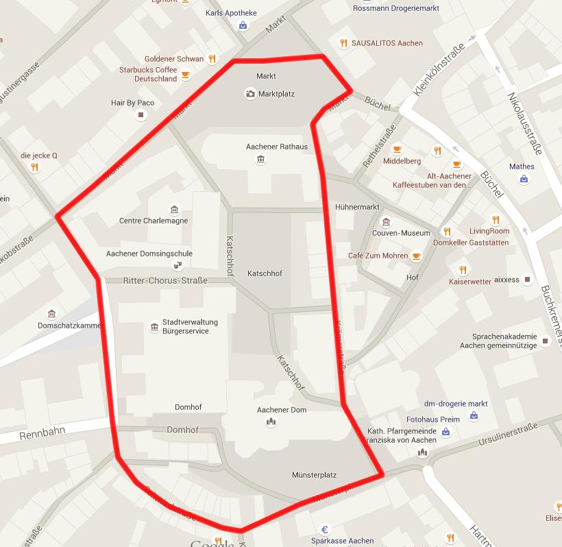 Solidaritätslauf 2015 Aachen Strecke Markt City