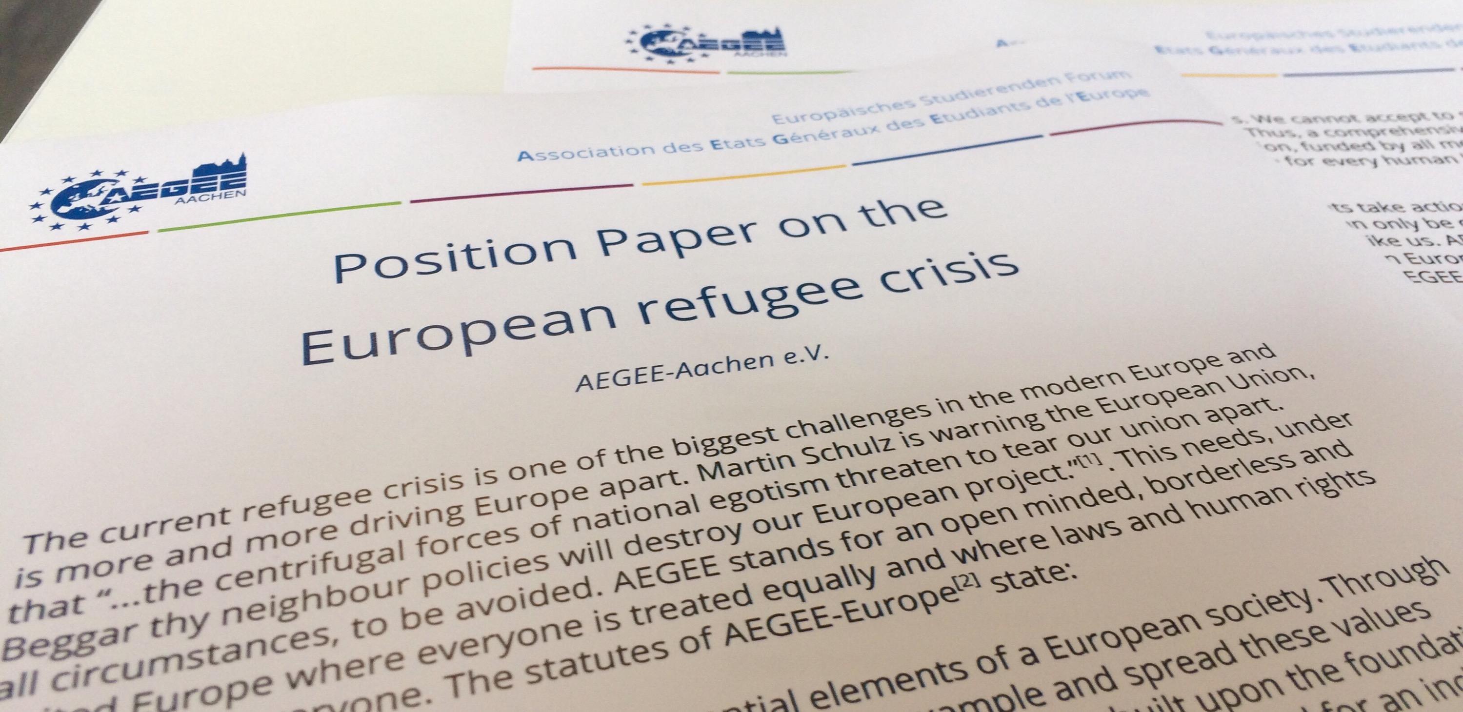 AEGEE Aachen Positionspapier zur Flüchtlingskrise in Europa