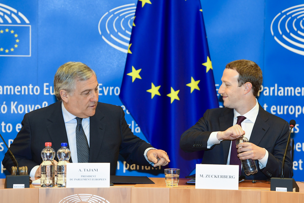 Antonio TAJANI, EP President meets with Mark ZUCKERBERG, founder and CEO of Facebook European Union 2018 - Source : EP