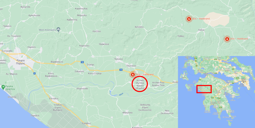 Waldbrände unweit von Olympia. Das Bild zeigt eine Karte und einen Kartenausschnitt der Region.